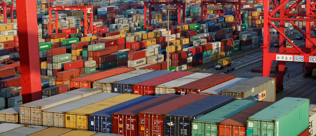 Container boxes are seen at the Yangshan Deep Water Port, part of the Shanghai Free Trade Zone, in Shanghai, China September 24, 2016. Picture taken September 24, 2016. REUTERS/Aly Song/File Photo - S1BEUGQTYXAC