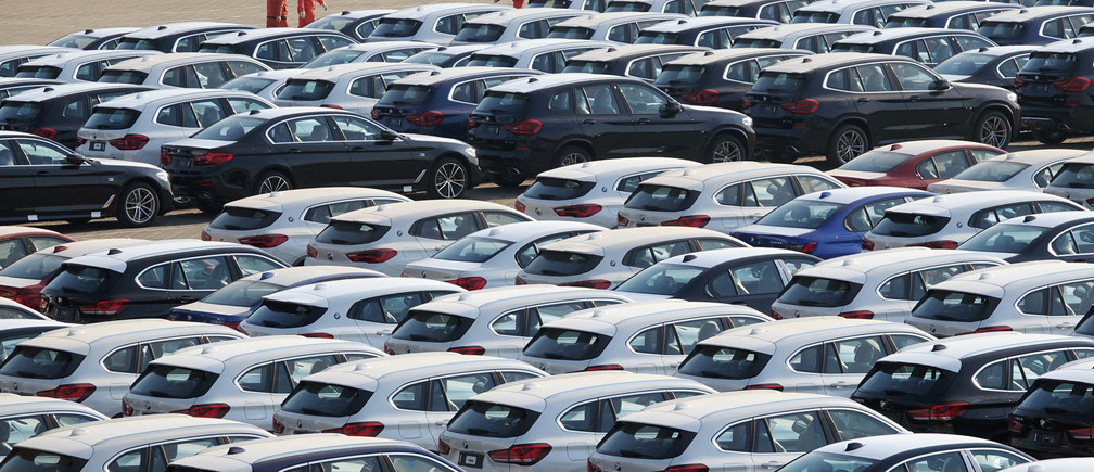 Newly manufactured cars are seen at a port in Dalian, Liaoning province, China April 10, 2020. China Daily via REUTERS  ATTENTION EDITORS - THIS IMAGE WAS PROVIDED BY A THIRD PARTY. CHINA OUT. - RC2J1G9ZJA4M