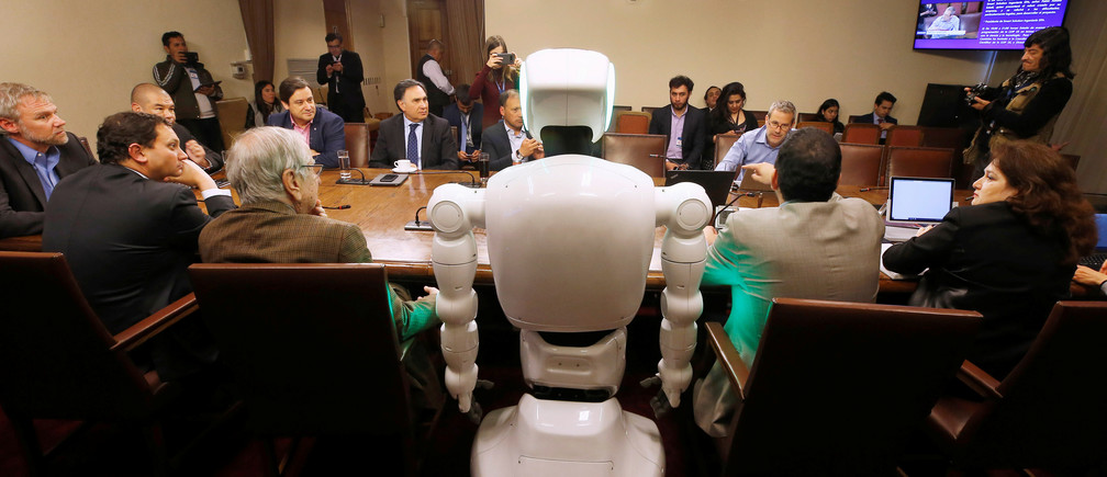 A robot is seen at science and technology commission of the Chamber of Deputies during a demonstration of technological innovation at the Chilean Congress in Valparaiso, Chile  October 2, 2019. REUTERS/Rodrigo Garrido - RC135DF908D0