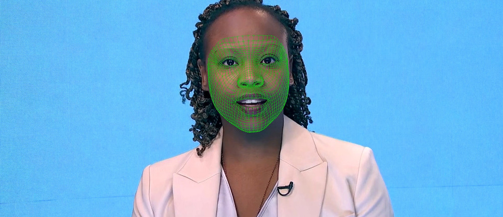 A green wireframe model covers an actor's lower face during the creation of a synthetic facial reanimation video, known alternatively as a deepfake, in London, Britain February 12, 2019. Picture taken February 12, 2019.