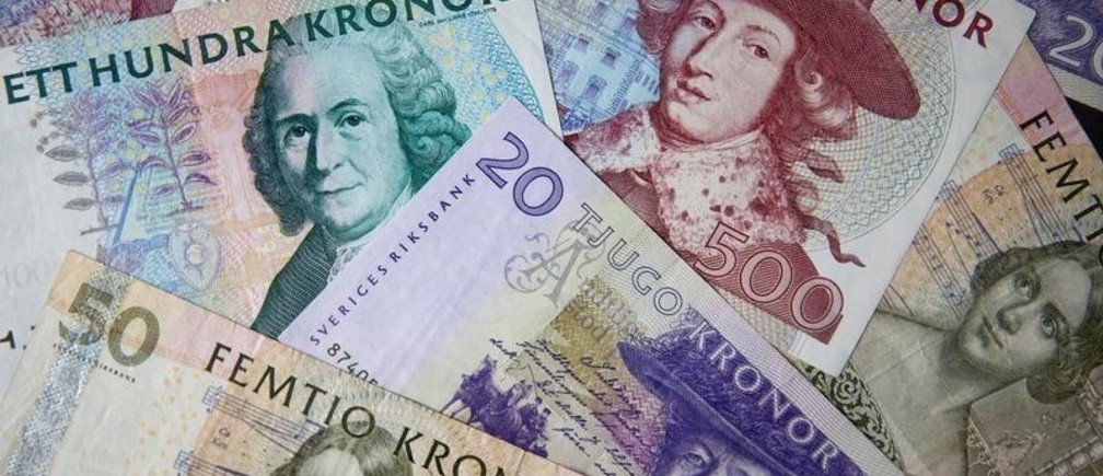 Swedish kronor notes in various denominations are seen in this photo illustration shot February 2, 2011.