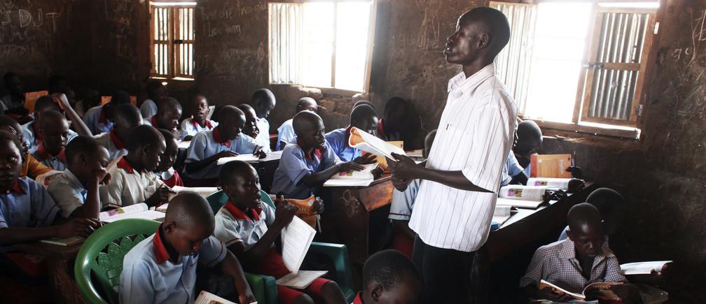 A teacher takes an English lesson in South Sudan's capital Juba.