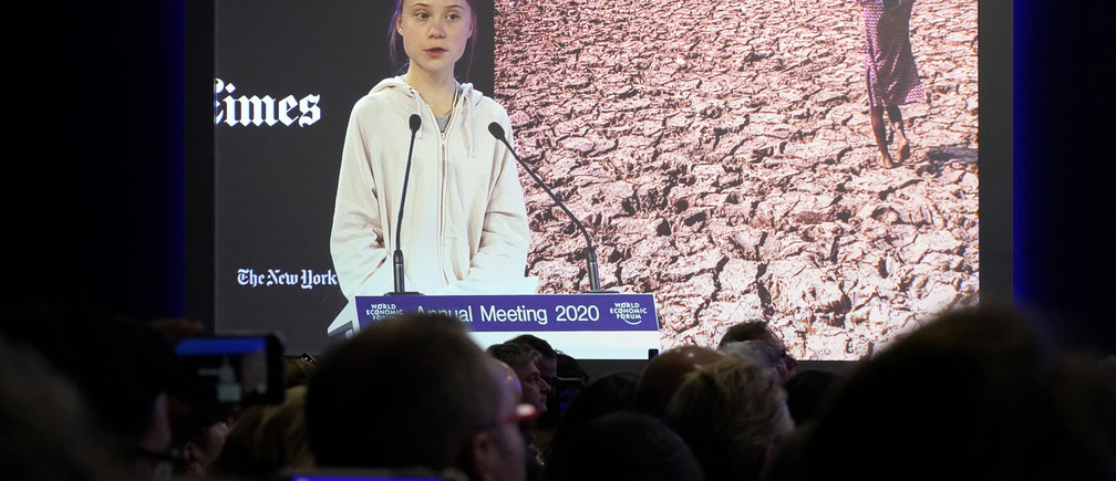 Swedish climate change activist Greta Thunberg speaks during a session at the 50th World Economic Forum (WEF) annual meeting in Davos, Switzerland, January 21, 2020. REUTERS/Denis Balibouse - RC2CKE99OOPT