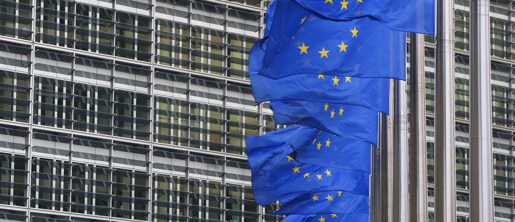 European flags are hung outside the European Commission headquarters in Brussels January 22, 2014.