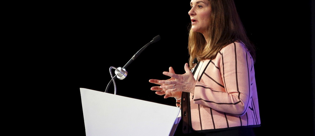 """Melinda Gates, co-founder of Bill and Melinda Gates Foundation, addresses a gathering during the """"Advancing Asia: Investing for the Future"""" conference in New Delhi, India, March 12, 2016. REUTERS/Anindito Mukherjee - RTX28THG"""