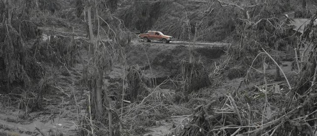 A car is seen on a road surrounded by damaged trees after the area was hit by ash from Mount Sinabung at Sigarang Garang village in Karo district, Indonesia's North Sumatra province, January 12, 2014. More than 22,000 villagers have been evacuated since authorities raised the alert status for the volcano to the highest level in November 2013, local media reported on Friday. REUTERS/YT Haryono (INDONESIA - Tags: DISASTER ENVIRONMENT TPX IMAGES OF THE DAY)