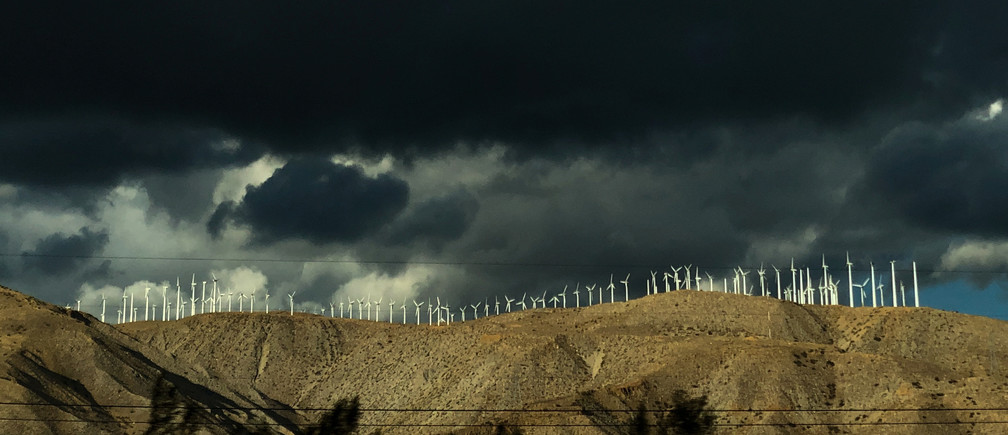 Windmills line a hillside in Palm Springs, California, U.S., November 29, 2019.