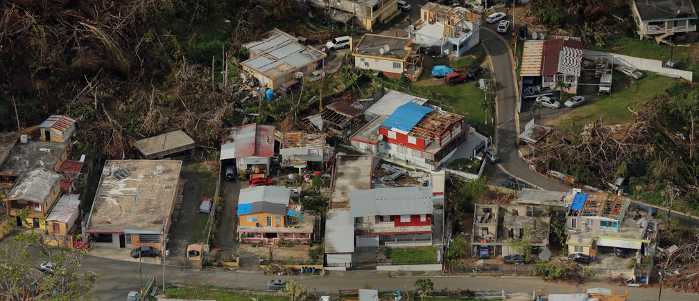 Buildings damaged by Hurricane Maria are seen in Lares, Puerto Rico, October 6, 2017. REUTERS/Lucas Jackson - RC1F53AEF200