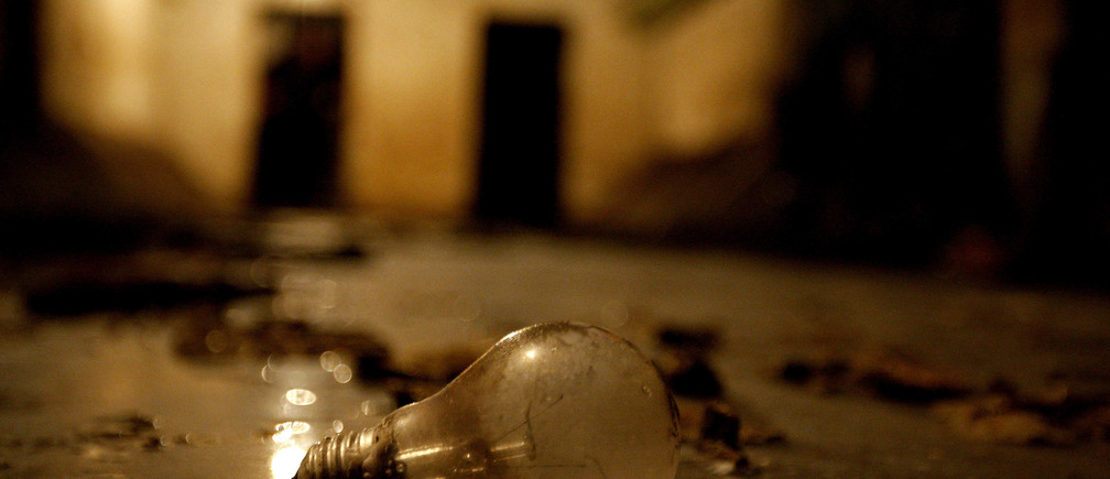A lightbulb lies on the floor of an underground nuclear shelter built in the early 1950s in the centre of Budapest September 11, 2008.