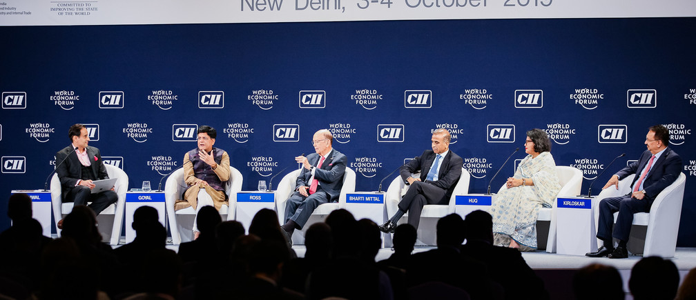 "Piyush Goyal , Minister of Commerce and Industry and Minister of Railways of India speaking during the Session ""Trading Against the Tide"" at the India Economic Summit 2019 in New Delhi, India, Copyright by World Economic Forum / Benedikt von Loebell"