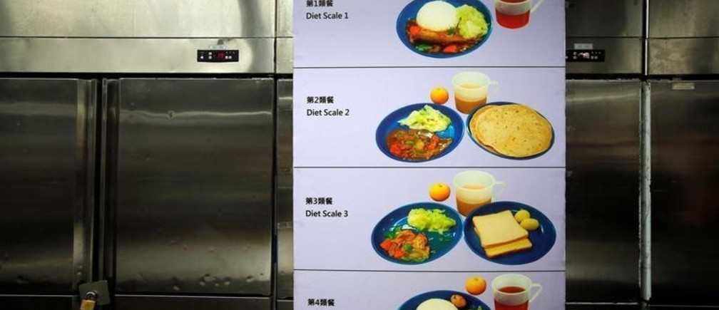 A diet menu is displayed inside the kitchen of Lai Chi Kok Reception Centre, a maximum security institution for detainees and judgement respited prisoners, in Hong Kong, China November 8, 2018. REUTERS/Bobby Yip - RC1C21AA15A0