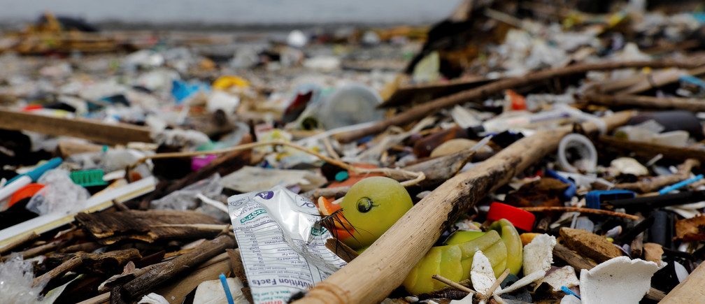 A rubber duck toy is pictured among various plastic trash on a garbage-filled shore on Freedom Island, Paranaque City, Metro Manila, Philippines, July 15, 2019. Picture taken July 15, 2019. REUTERS/Eloisa Lopez - RC1EA24CC690