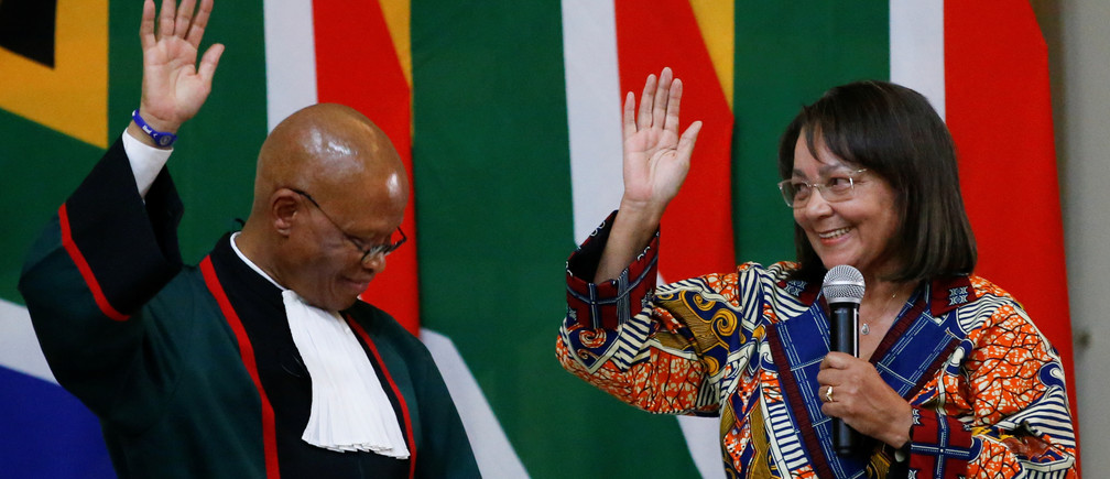 Patricia de Lille is sworn in as South Africa's Public Works and Infrastructure Minister by Chief Justice Mogoeng Mogoeng in Pretoria, South Africa, May 30, 2019. REUTERS/Siphiwe Sibeko