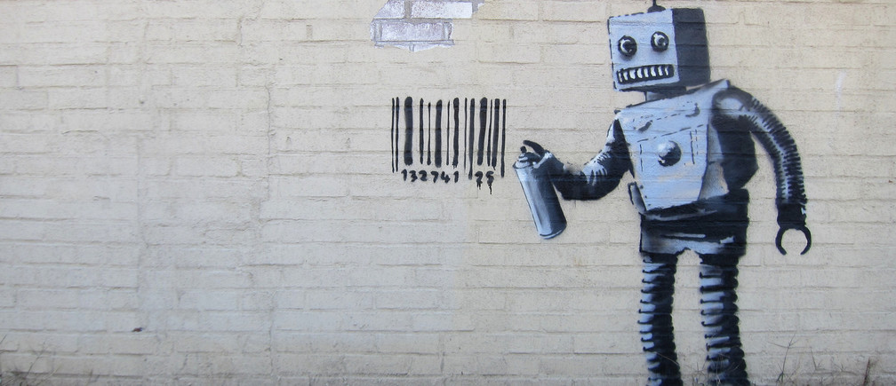 Banksy's robot in Coney Island, NYC