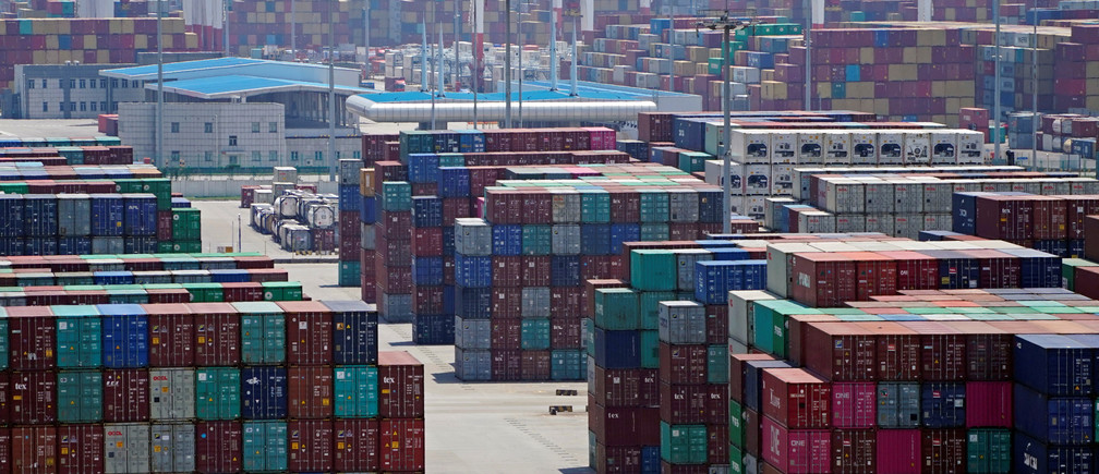 Containers are seen at the Yangshan Deep Water Port in Shanghai, China August 6, 2019. REUTERS/Aly Song - RC16C9DA8A60