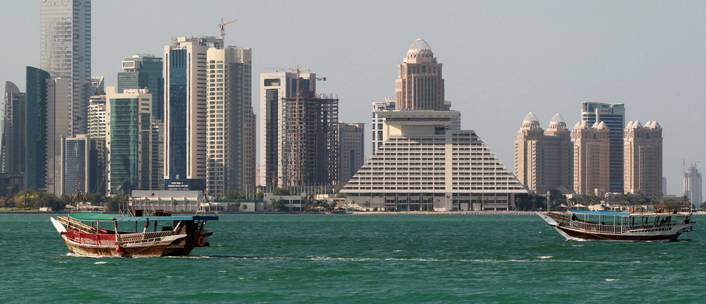 Buildings are seen on a coast line in Doha, Qatar June 5, 2017. REUTERS/Stringer - RTX395I3
