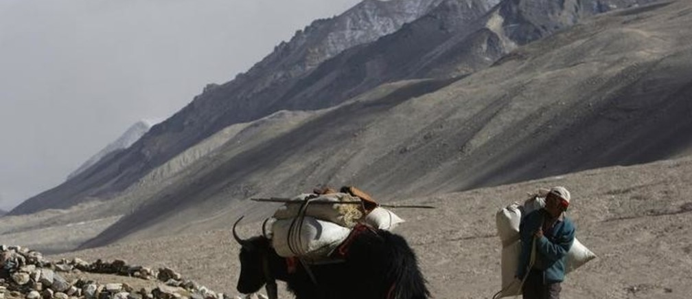 "A yak herder loads supplies onto his animals at the foot of the world's highest mountain Mount Everest, also known as Qomolangma, in the Tibet Autonomous Region May 6, 2008. An envoy of the Dalai Lama said on Tuesday that one-day talks with China on the unrest in Tibet had been ""a good first step"" and that the two sides would meet again after he reports back to the exiled spiritual leader. The unrest, the most serious challenge to Chinese rule in the mountainous region for nearly two decades, prompted anti-China protests around the world that disrupted the international leg of the torch relay for the Beijing Olympics and led to calls for Western leaders to boycott the August Games."