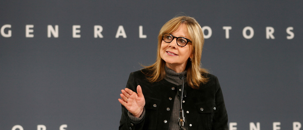 General Motors Chairman and CEO Mary Barra announces that Chevrolet will begin testing a fleet of Bolt autonomous vehicles in Michigan during a news conference in Detroit, Michigan, U.S., December 15, 2016.  REUTERS/Rebecca Cook - RC1E60F28F90