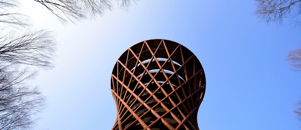 A 45-meter observation tower, designed by EFFEKT Architects, is seen at the Camp Adventure Park in Gisselfeld Klosters forests in South Zealand, Denmark March 30, 2019  Ritzau Scanpix/Tariq Mikkel Khan/via REUTERS    ATTENTION EDITORS - THIS IMAGE WAS PROVIDED BY A THIRD PARTY. DENMARK OUT. NO COMMERCIAL OR EDITORIAL SALES IN DENMARK. - RC1EE1E4F440