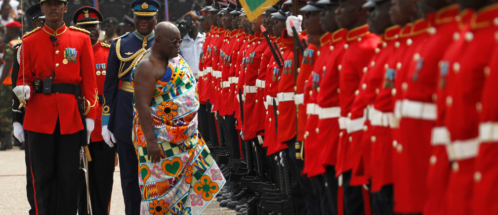Ghana's new President Nana Akufo-Addo inspects a military parade after the swearing in ceremony at Independence Square in Accra, Ghana  January 7, 2017. REUTERS/Luc Gnago - RTX2YH6V
