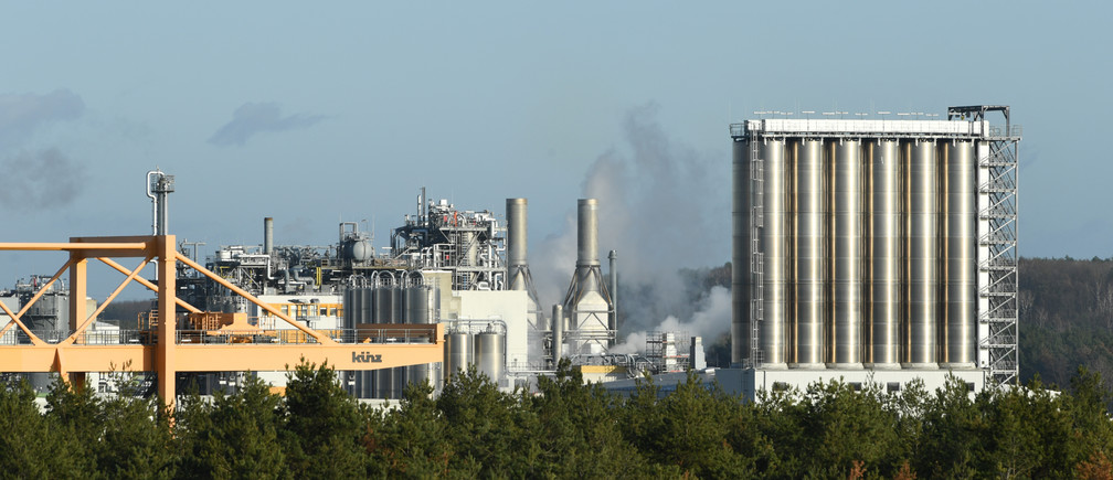 A general view of the German chemical company, BASF Schwarzheide GmbH in Schwarzheide, Germany, December 10, 2019.