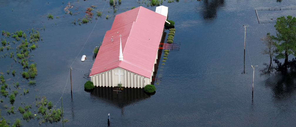 The Rock Hill Missionary Baptist Church is seen in floodwater caused by Hurricane Florence, in this aerial picture, in Lumberton, North Carolina, U.S. September 17, 2018. REUTERS/Jason Miczek      TPX IMAGES OF THE DAY - RC1F50809A30