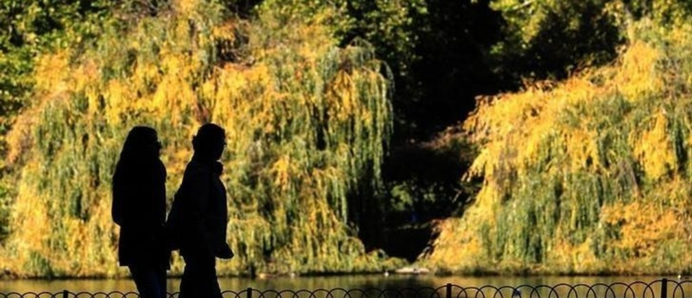 A couple strolls on a sunny autumn day in St James's Park in London October 24, 2010.  REUTERS/Luke MacGregor (BRITAIN - Tags: ENVIRONMENT)