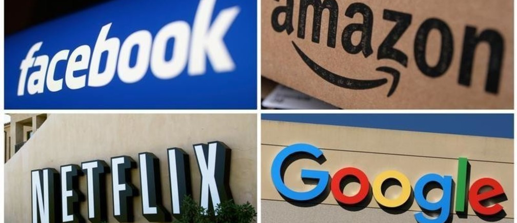 Facebook, Amazon, Netflix and Google logos are seen in this combination photo from Reuters files.   REUTERS/File Photos - RC1C897390A0