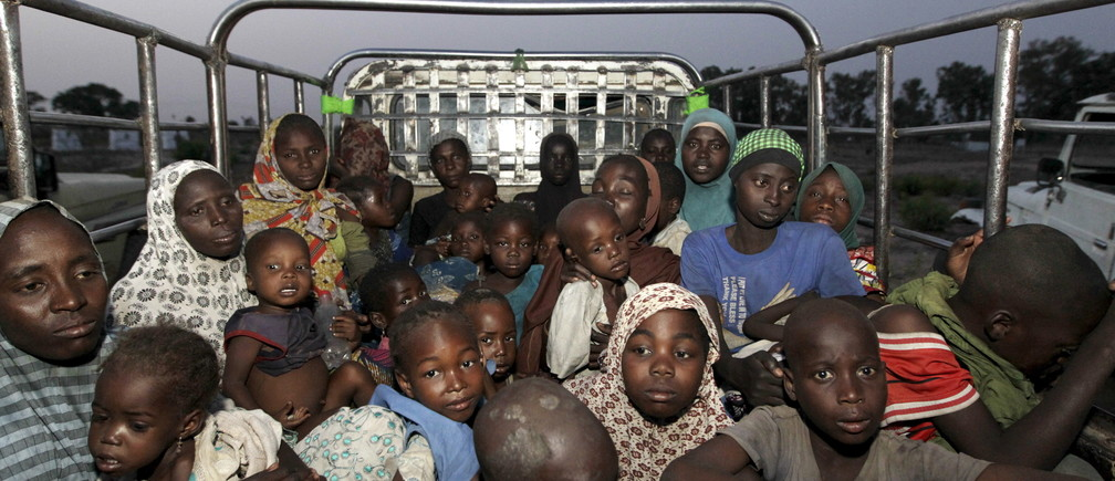 Women and children rescued from Islamist militant group Boko Haram in the Sambisa forest by the Nigerian military arrive at an internally displaced people's camp in Yola, Adamawa State, Nigeria, May 2, 2015