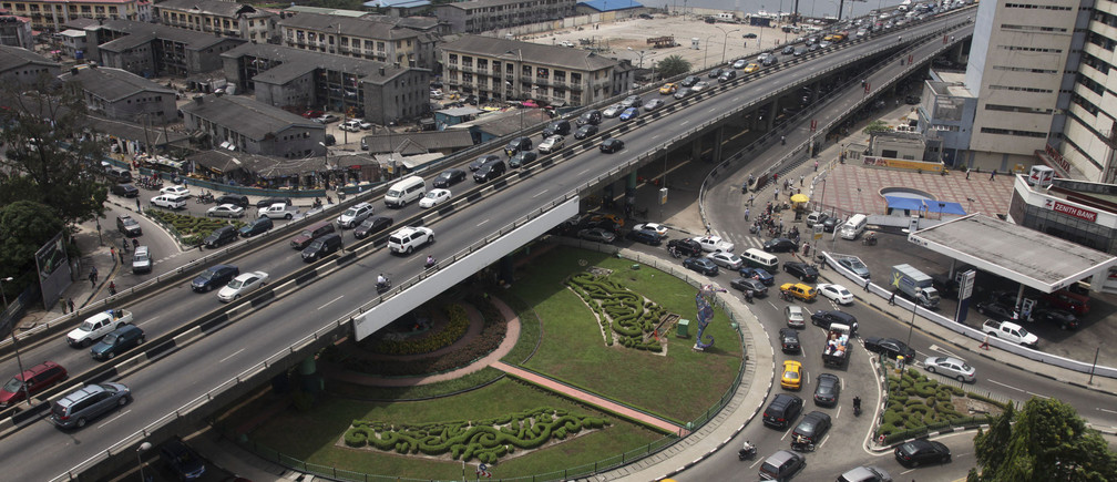 Heavy traffic is seen on a bridge in Ikoyi neighbourhood in Lagos March 27, 2012.