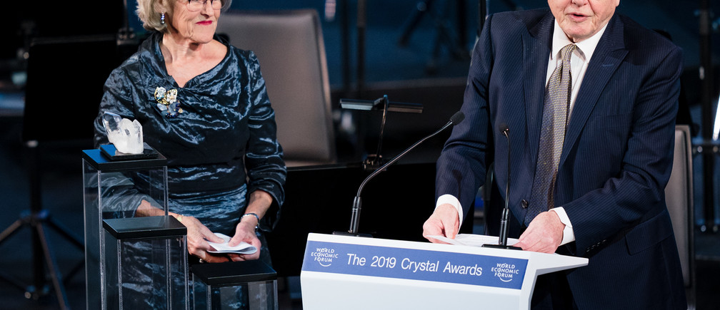 Hilde Schwab andSir David Attenborough captured during the Session: The 25th Annual Crystal Awards at the Annual Meeting 2019 of the World Economic Forum in Davos, January 21, 2019.Copyright by World Economic Forum / Manuel Lopez