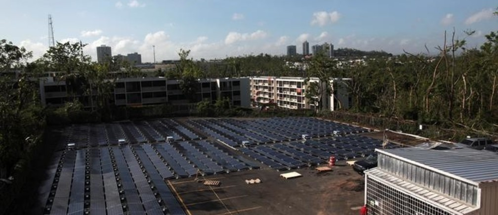 Solar panels set up by Tesla, are seen at the San Juan Children's Hospital, after the island was hit by Hurricane Maria in September, in San Juan, Puerto Rico October 26, 2017.  REUTERS/Alvin Baez
