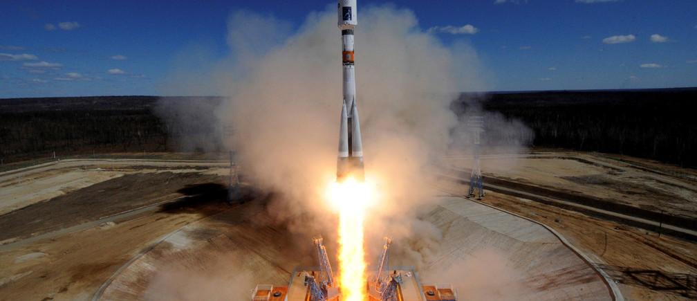 A Russian Soyuz rocket lifts off