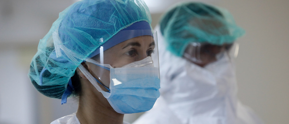 Medical workers wearing personal protective equipment (PPE) are seen at the intensive care unit (ICU) of the Sotiria hospital, following the coronavirus disease (COVID-19) outbreak, in Athens, Greece, April 25, 2020. Picture taken April 25, 2020