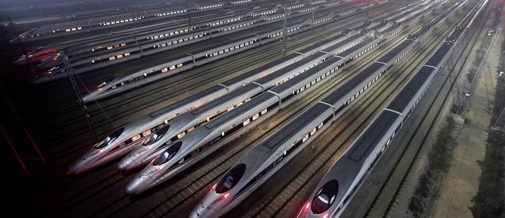 China Railway High-speed Harmony bullet trains are seen at a high-speed train maintenance base in Wuhan, Hubei province