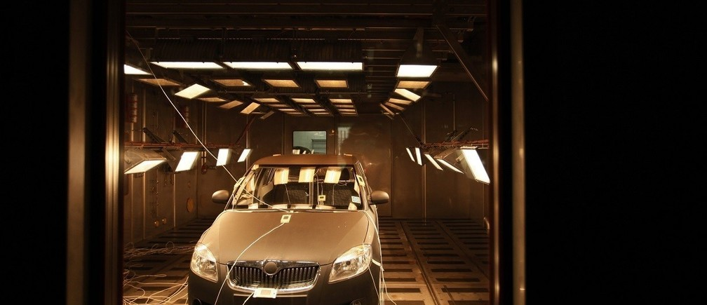 The Skoda Fabia car  is seen in a test room exposed to high temperatures simulating the sun shining in the Skoda Auto Technological Center in Mlada Boleslav, December 14, 2010.   REUTERS/Petr Josek (CZECH REPUBLIC - Tags: BUSINESS TRANSPORT EMPLOYMENT) - RTXVPQ8