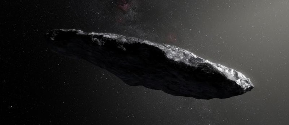 This artist's impression shows the first interstellar asteroid, `Oumuamua as it passes through the solar system after its discovery in October 2017.  European Southern Obervatory/M. Kornmesser/Handout via REUTERS  ATTENTION EDITORS - THIS IMAGE WAS PROVIDED BY A THIRD PARTY - RC16AB66CA80