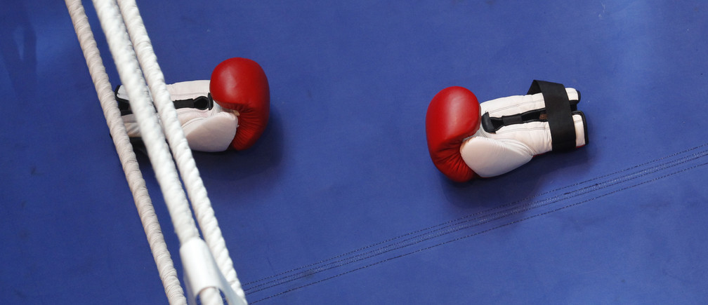 Boxing gloves are seen during a training session of heavyweight title holder boxer Vladimir Klitschko of Ukraine in Duesseldorf March 17, 2010. Klitschko will fight Eddy Chambers of the U.S. for the IBF/WBO and IBO world heavyweight championship title, March 20 in Duesseldorf.  REUTERS/Ina Fassbender (GERMANY - Tags: SPORT BOXING) - BM2E63H146D01