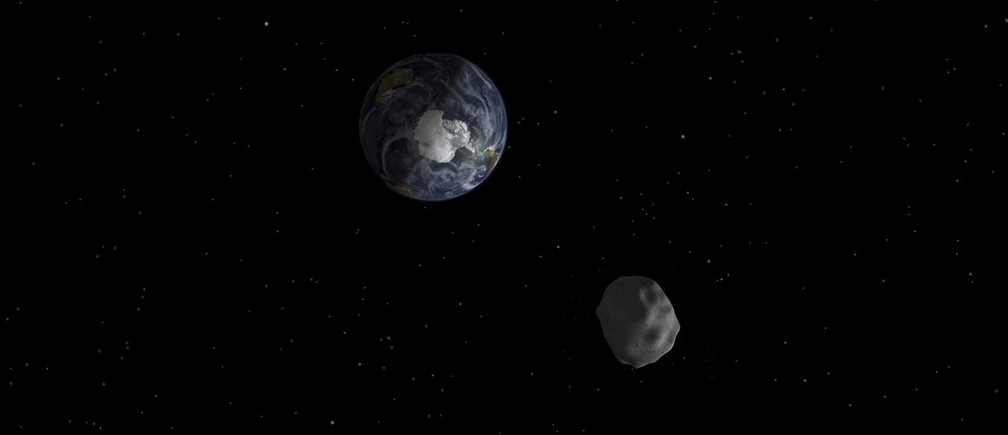 The passage of asteroid 2012 DA14 through the Earth-moon system, is depicted in this handout image from NASA. On February 15, 2013, an asteroid, 150 feet (45 meters) in diameter will pass close, but safely, by Earth. The flyby creates a unique opportunity for researchers to observe and learn more about asteroids.