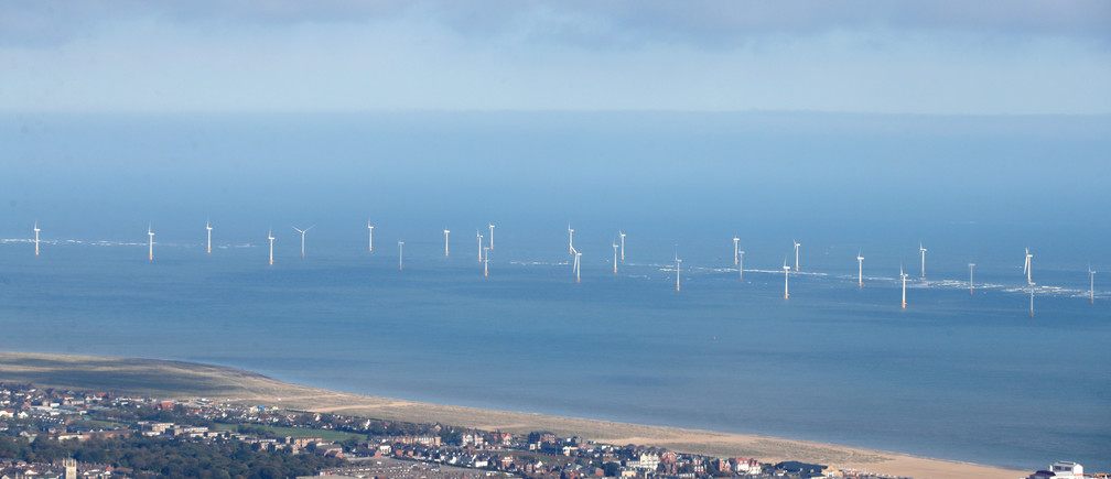 Scroby Sands offshore wind farm can be seen off of the coast at Great Yarmouth, Britain, October 24, 2018. Picture taken October 24, 2018. REUTERS/Chris Radburn - RC1773888790