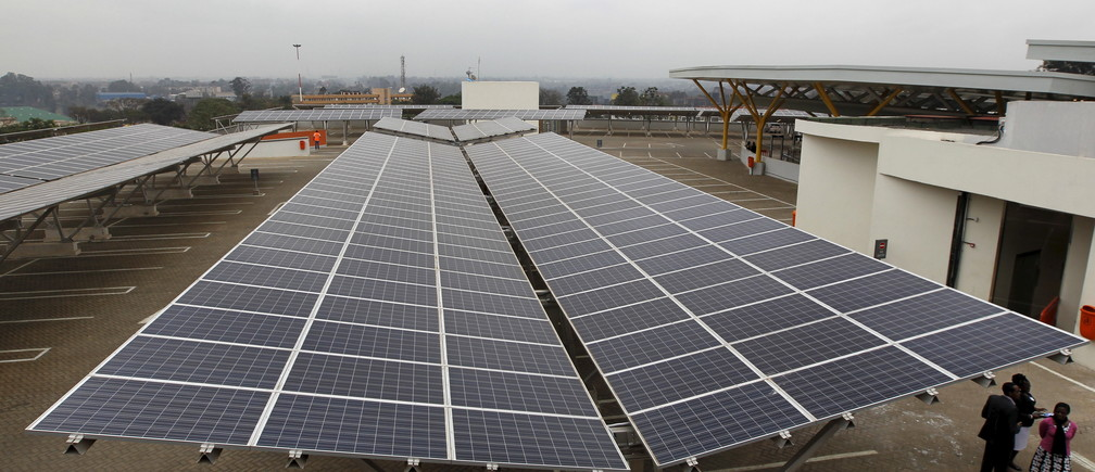 Solar panels are pictured at a solar carport at the Garden City shopping mall in Kenya's capital Nairobi, September 15, 2015. The Africa's largest solar carport with 3,300 solar panels will generate 1256 MWh annually and cut carbon emission by around 745 tonnes per year, according to Solarcentury and Solar Africa.  REUTERS/Thomas Mukoya - GF10000206553