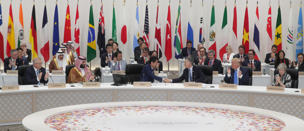G20 leaders and delegates attend the closing session of G20 leaders summit in Osaka, Japan, June 29, 2019.  G20 Osaka Summit Photo/Handout via Reuters  ATTENTION EDITORS - THIS PICTURE WAS PROVIDED BY A THIRD PARTY. NO RESALES. NO ARCHIVES. MANDATORY CREDIT. - RC1F975421D0