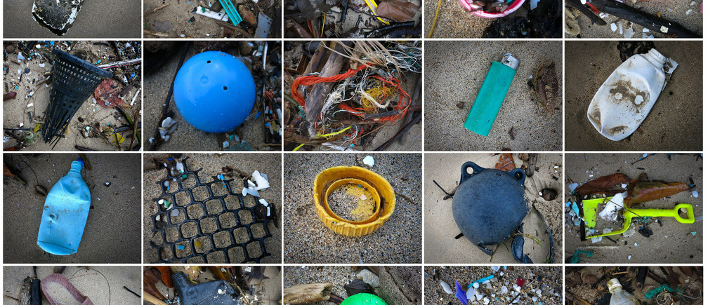 This combination image shows beach debris and plastic items washed up on a 200ft (61m) stretch of a Windward Shore beach on the island of Oahu in Waikane, Hawaii, December 11, 2014. Pictures taken December 11, 2014. REUTERS/Carlo Allegri      (UNITED STATES - Tags: SOCIETY ENVIRONMENT) - GM1EACE15TP01