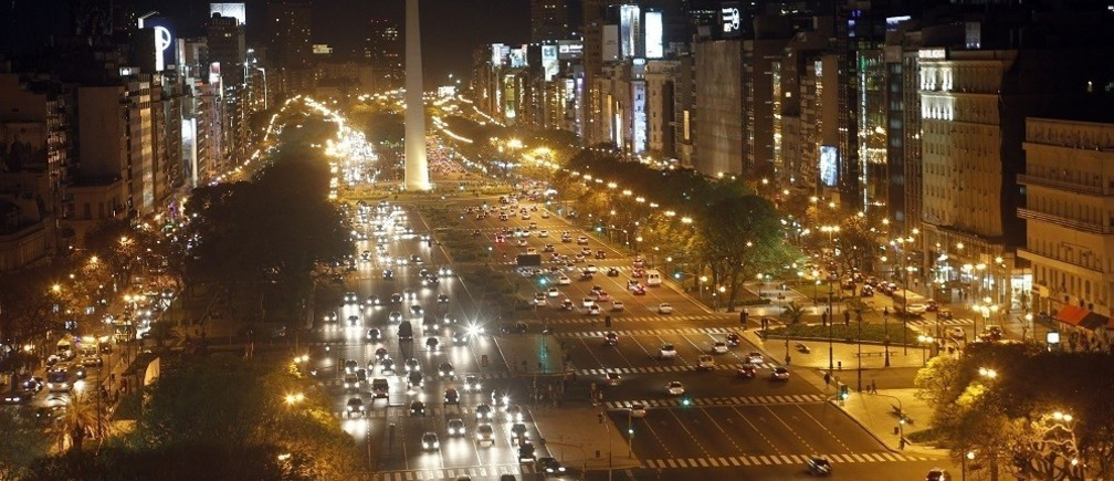 Overview of the Buenos Aires'9 de Julio Avenue with the Obelisk in the background, October 25 2011.