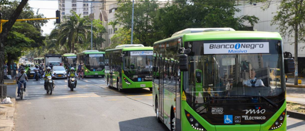 Colombia's city of Cali launches a fleet of 26 electric buses, September 2019.