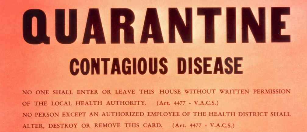 historic sign from CDC on contagious disease quarantine - relevant now for covid-19, coronavirus