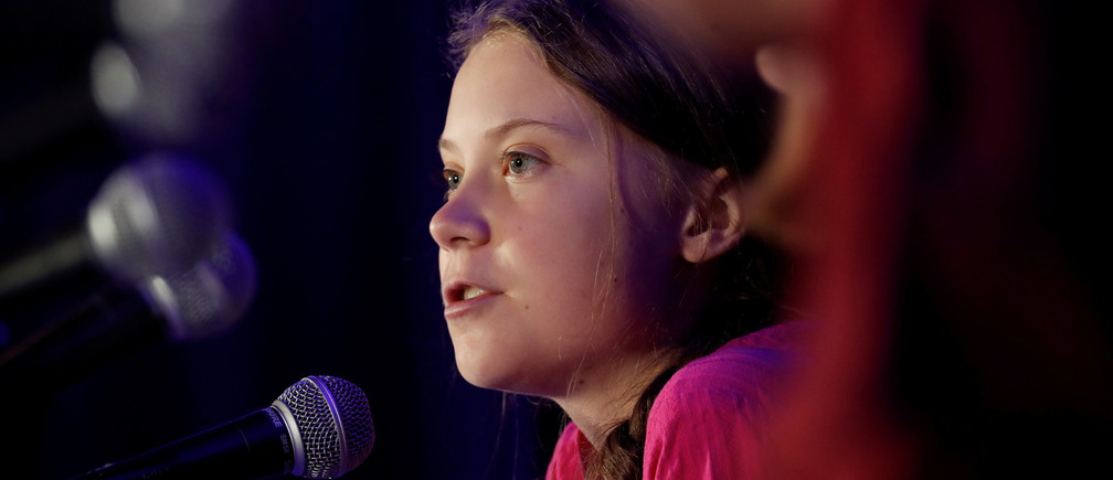 Swedish climate activist Greta Thunberg speaks with other child petitioners from twelve countries around the world who presented a landmark complaint to the United Nations Committee on the Rights of the Child to protest the lack of government action on the climate crisis during a press conference in New York, U.S., September 23, 2019. REUTERS/Shannon Stapleton - RC1B49B512D0