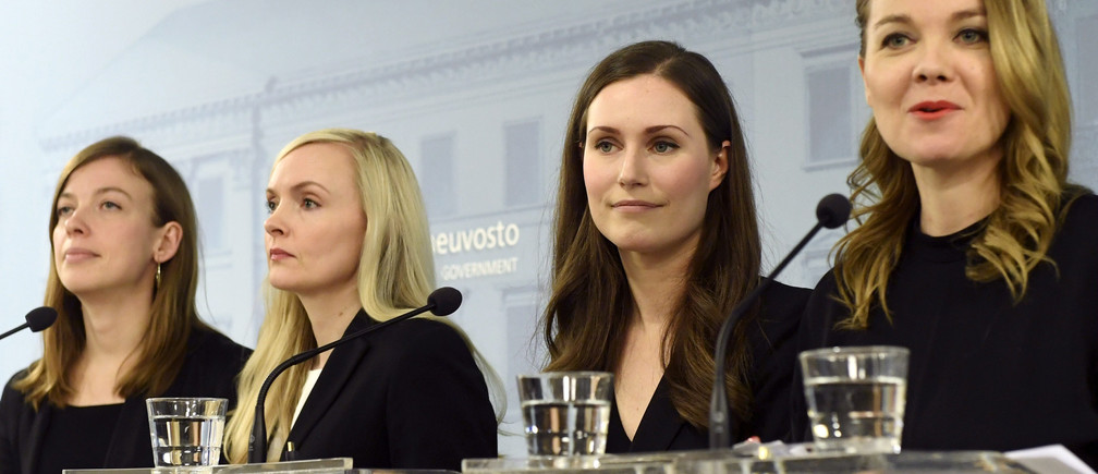 Minister of Education Li Andersson, Minister of Interior Maria Ohisalo, Prime Minister Sanna Marin and Minister of Finance Katri Kulmuni attend a news conference of the new Finnish government in Helsinki, Finland December 10, 2019. Lehtikuva/Vesa Moilanen via REUTERS      ATTENTION EDITORS - THIS IMAGE WAS PROVIDED BY A THIRD PARTY. NO THIRD PARTY SALES. NOT FOR USE BY REUTERS THIRD PARTY DISTRIBUTORS. FINLAND OUT. NO COMMERCIAL OR EDITORIAL SALES IN FINLAND. - RC2GSD9FVL5N
