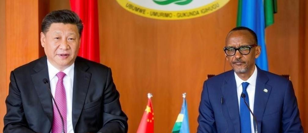 Chinese President Xi Jinping and Rwanda's President Paul Kagame address a news conference during his visit to Kigali, Rwanda July 23, 2018.