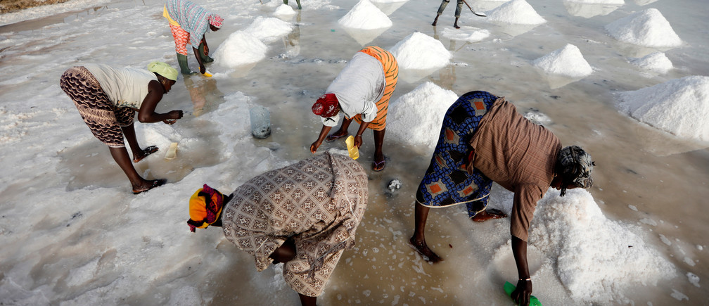 Marie Diouf (back-L), aka Salt Queen, gathers salt with her workers at her production site in Ndiemou on the outskirts of Fatick, Senegal women men female male girls boys teenagers teens development gender gap parity equality diversity progress change feminine masculine woman man sex biology roles dynamic balance bias androgynous senegal west africa women business businesswoman businessman corporation corporate finance wall street stock exchange capitalism private ownership board c-suite CEOs CFOs corporation united states us america wall street change gender parity equality goldman sachs davos industry representation fair finance fiscal financial economics economies trading trade price money profit value men male female change changing 2020 future taxation tax wealth gross domestic product gdp